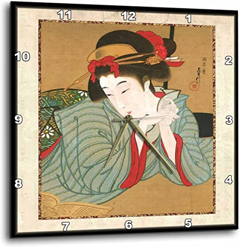 3dRose 3D Rose 1850 Japanese Portrait Painting of Woman-Wall Clock, 15-inch DPP_62455_3