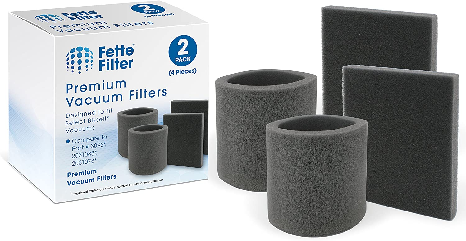 Fette Filter - Vacuum Filters Compatible with Bissell Style 7. Compare to Part # 3093, (Pack of 4)