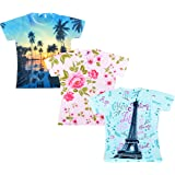 Sathiyas Girls Graphic Printed T-Shirt - (Pack of 3)