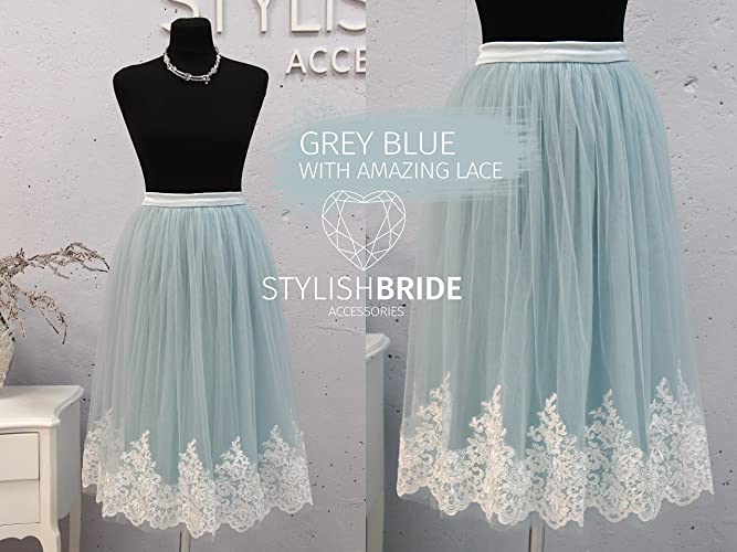 9d789c4924 Amazon.com: Dusty Blue with light blue lining effect, Tulle Skirt Lace Trim  Crop Top and Tulle skirt long, Prom Lace Tulle Dress: Handmade