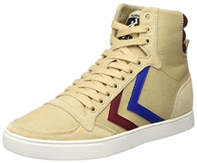 Unisex Adults Slimmer Stadil High Hi-Top Sneakers, Dunkelrot/Weiß Hummel
