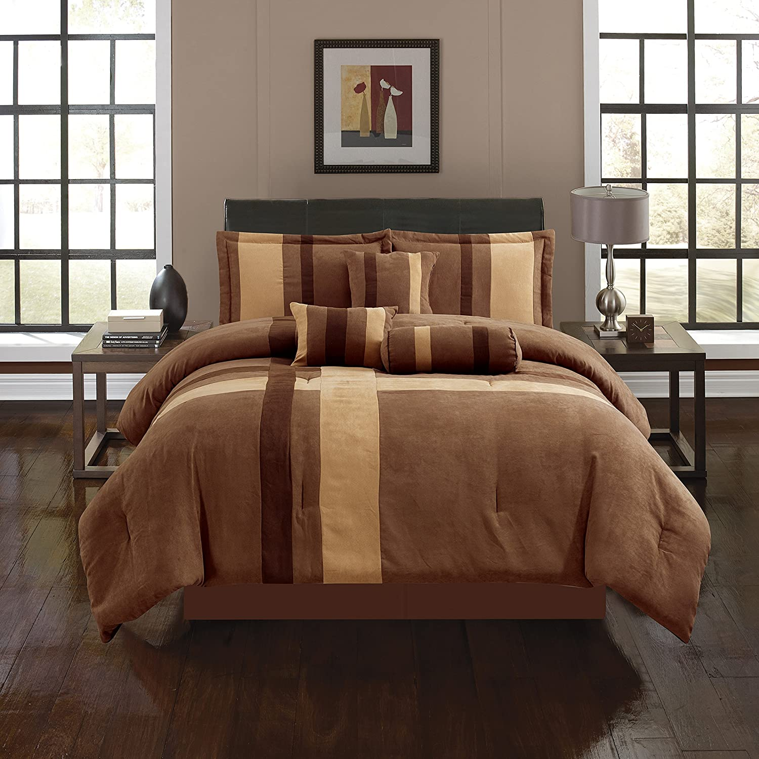 Amazon com empire home brown taupe cross 7 piece solid suede soft comforter set queen size home kitchen