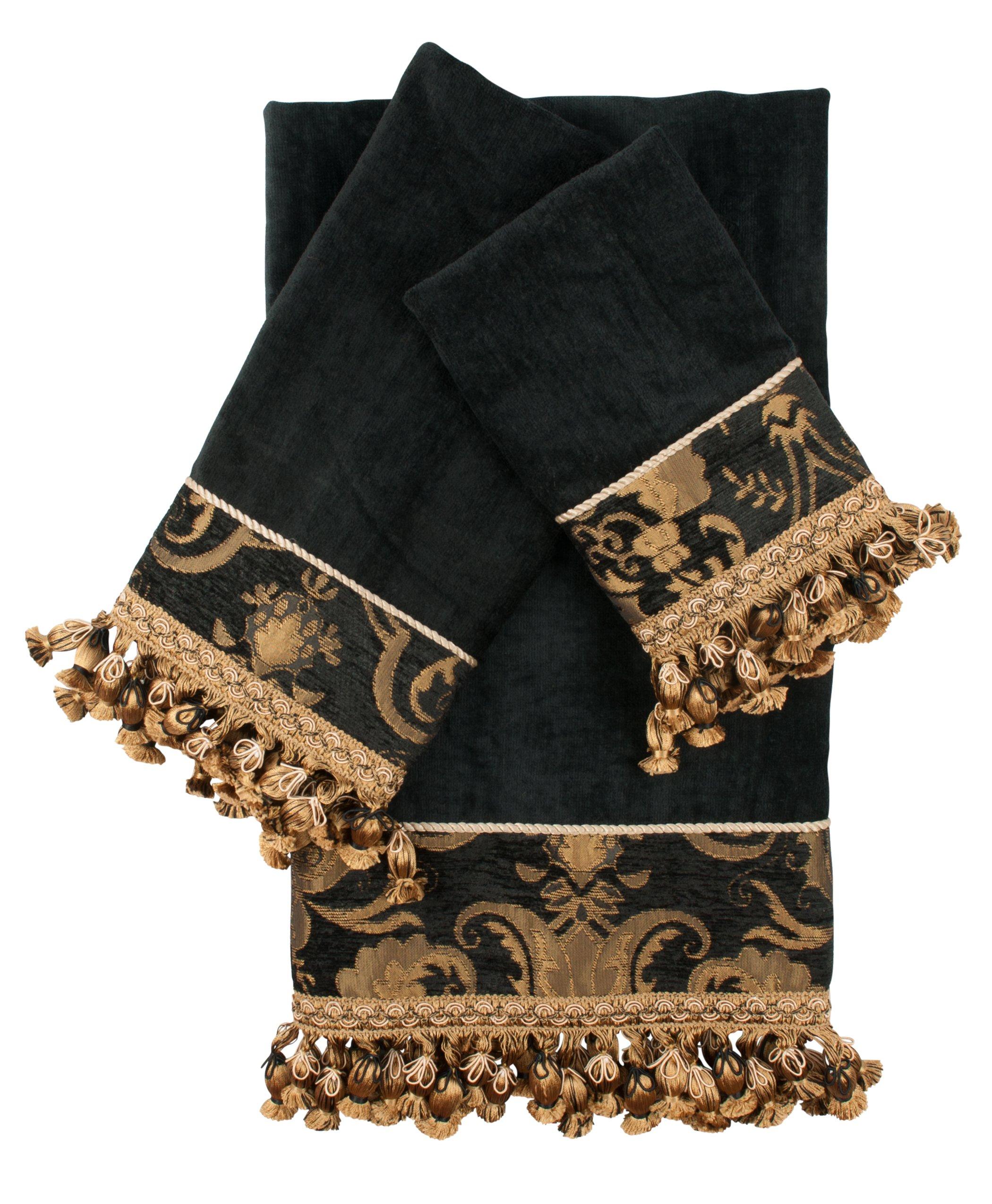 Sherry Kline 3 Piece China Art Decorative Towel Set, Black