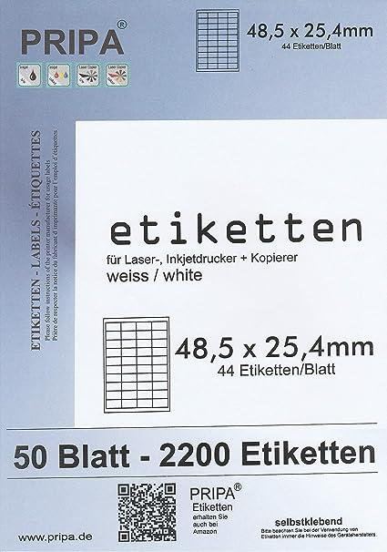 48,5 x 25,4 mm 100 Blatt pro Karton 1 Karton Adress-Etiketten