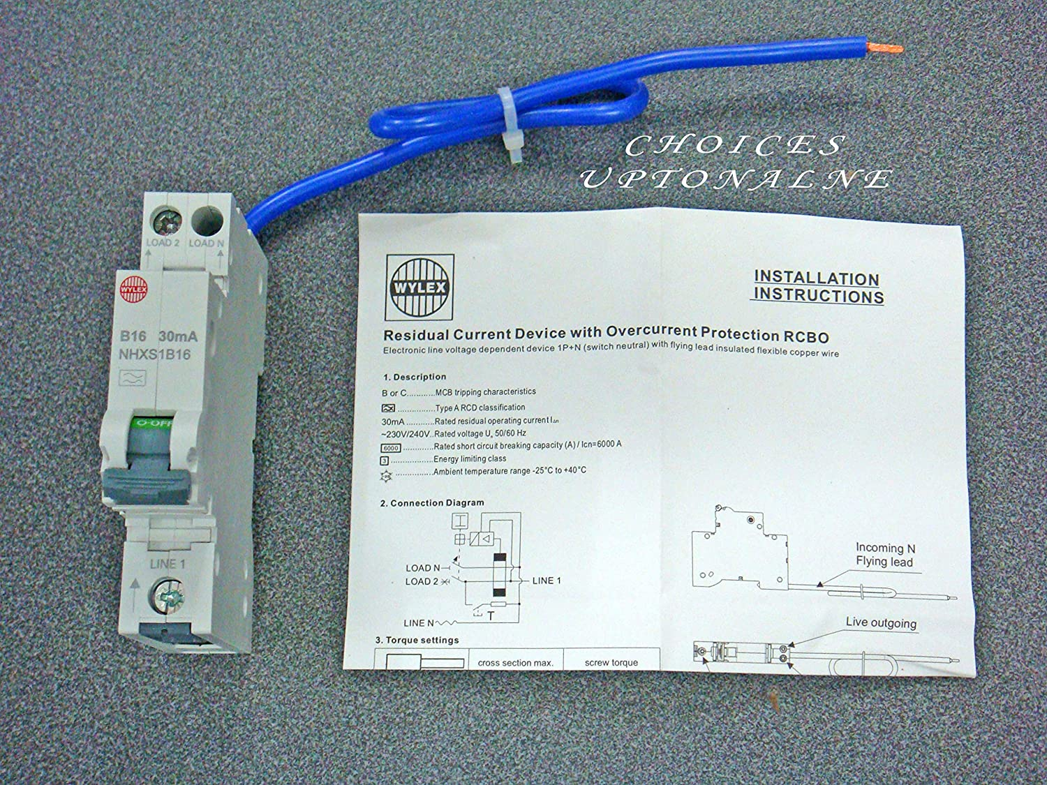 WYLEX TYPE A 30MA SINGLE POLE COMPACT RESIDUAL CURRENT BREAKERS NHXS1B SERIES (COMPACT RCBO=6 AMPS CAT NO: NHXS1B06)