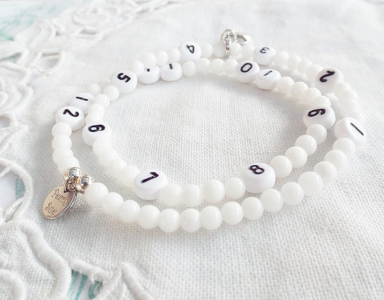 Stillarmband weiße Jade silber Stillhilfe Stilluhr Wickelarmband