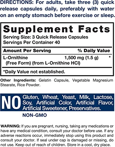 L Ornithine 1500mg 120 Capsules Non-GMO Gluten Free Supplement Free Form L-Ornithine by Horbaach
