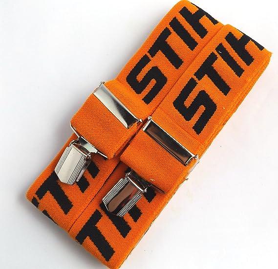 6e9ad38e99e Genuine Stihl 110 cm Braces for Trousers with Metal Clips (Orange)