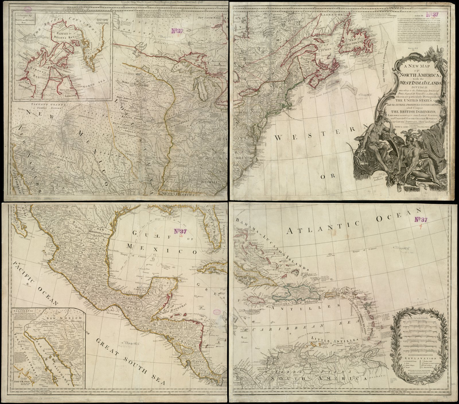 Historic Map | A New map of North America with the West India Islands : divided according to the preliminary articles of peace, signed at Versailles, 20. Jan. 1783 | Antique Vintage Reproduction