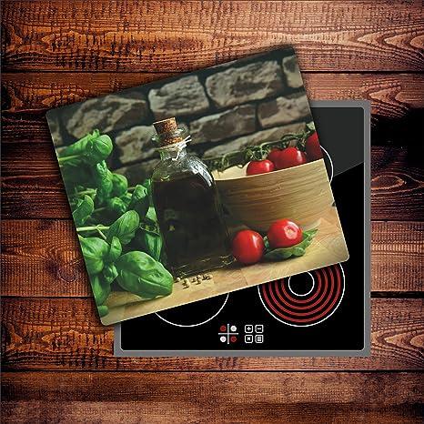Gemüse 1 Glas Abdeckplatte 60x52 Schneidebrett Herdabdeckplatte