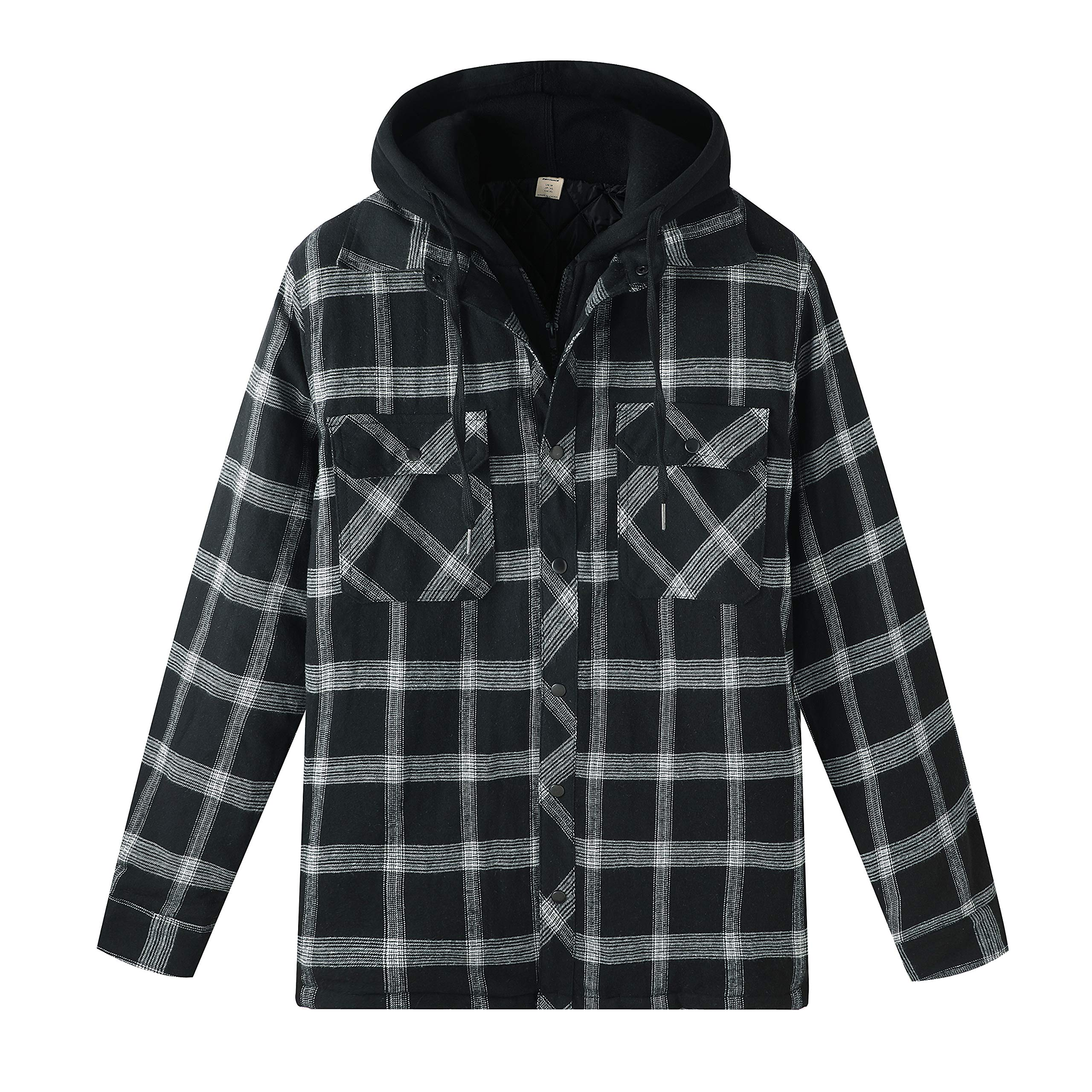ZENTHACE Men's Thicken Plaid Hooded Flannel Shirt Jacket with Quilted Lined Black M by ZENTHACE