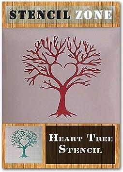 Liebes-Herz-Baum-Form Mylar Airbrush Malerei Wall Art Crafts s Schablone