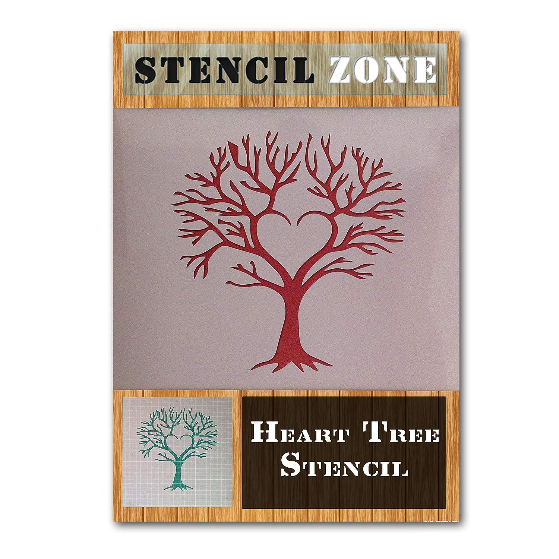 Love Heart Tree Shape Mylar Airbrush Painting Wall Art Crafts Stencil-XL STENCIL ZONE