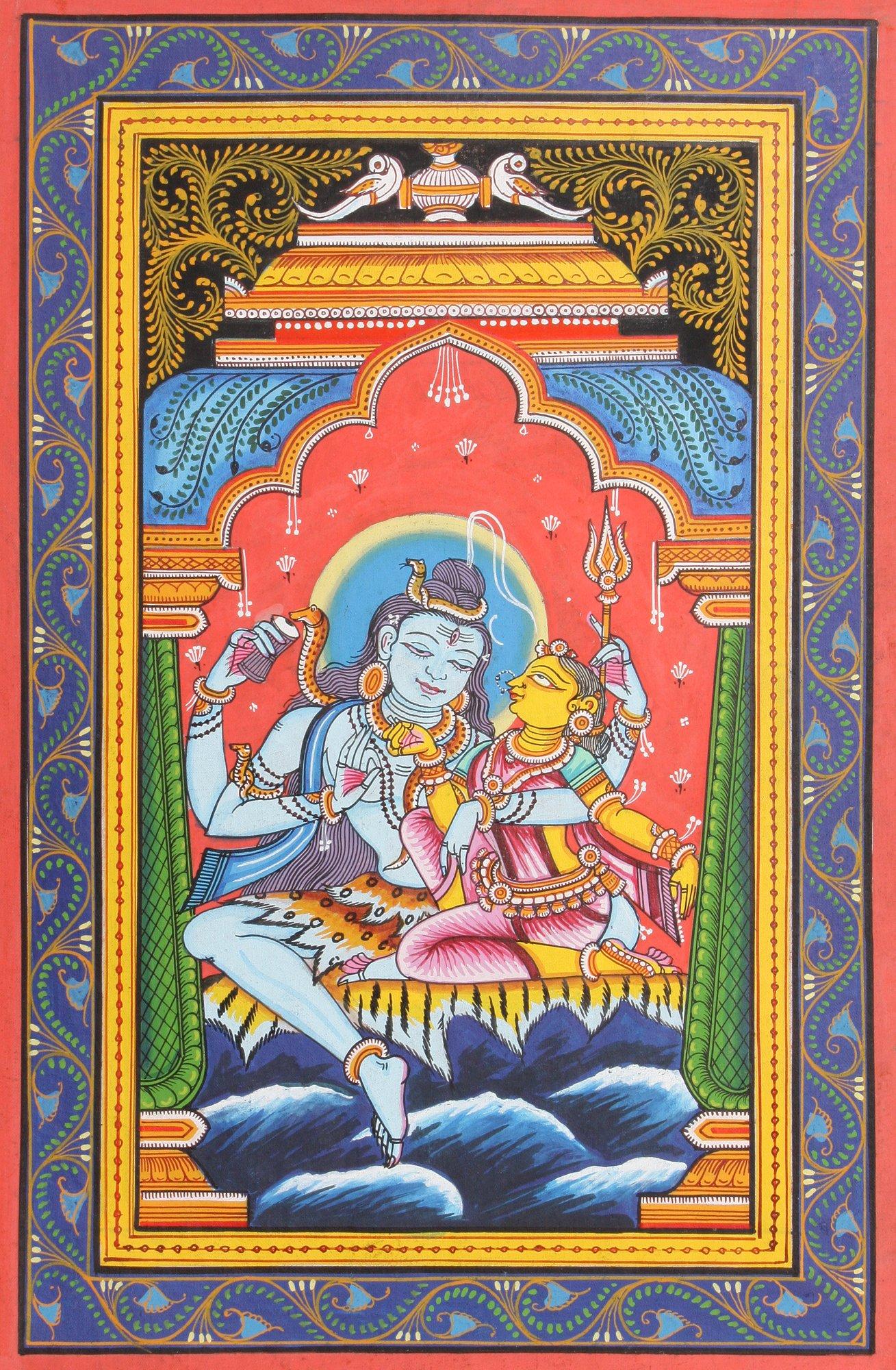 Parvati in the Lap of Shiva - Watercolor on Patti - Artist Rabi Behera