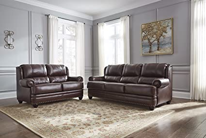 Glengary Traditional Chestnut Color 100% Leather Sofa And Loveseat
