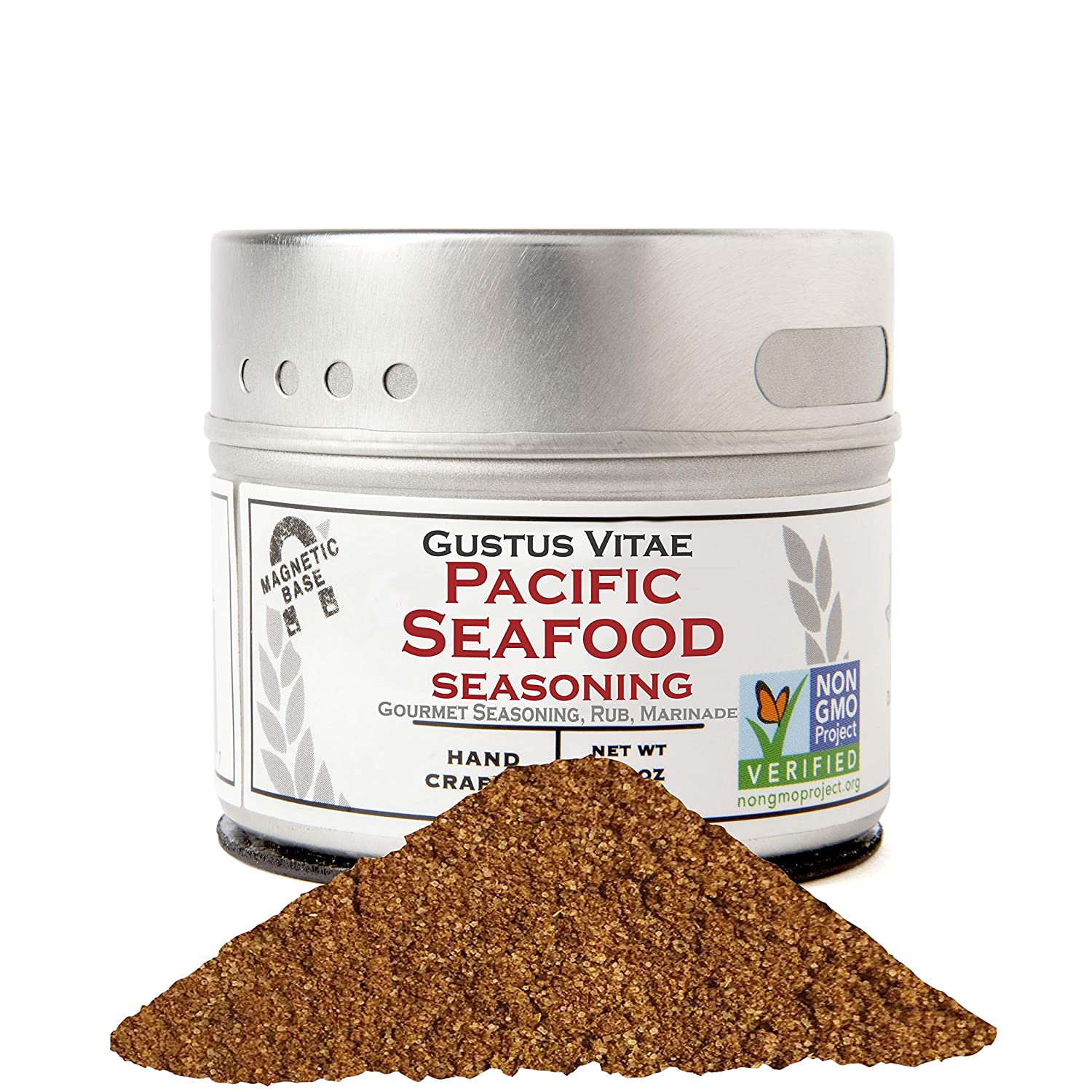 Pacific Seafood Seasoning - Authentic Artisanal Gourmet Spice Mix - Non GMO Project Verified - 2.3 oz - Small Batch - Magnetic Tin - Gustus Vitae