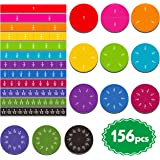 156 pcs Magnetic Rainbow Fraction Tiles Circles