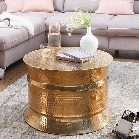 Tavolino Da Salotto Oro.Tavolino Aram 62x41x62cm Tavolino In Alluminio Color Oro