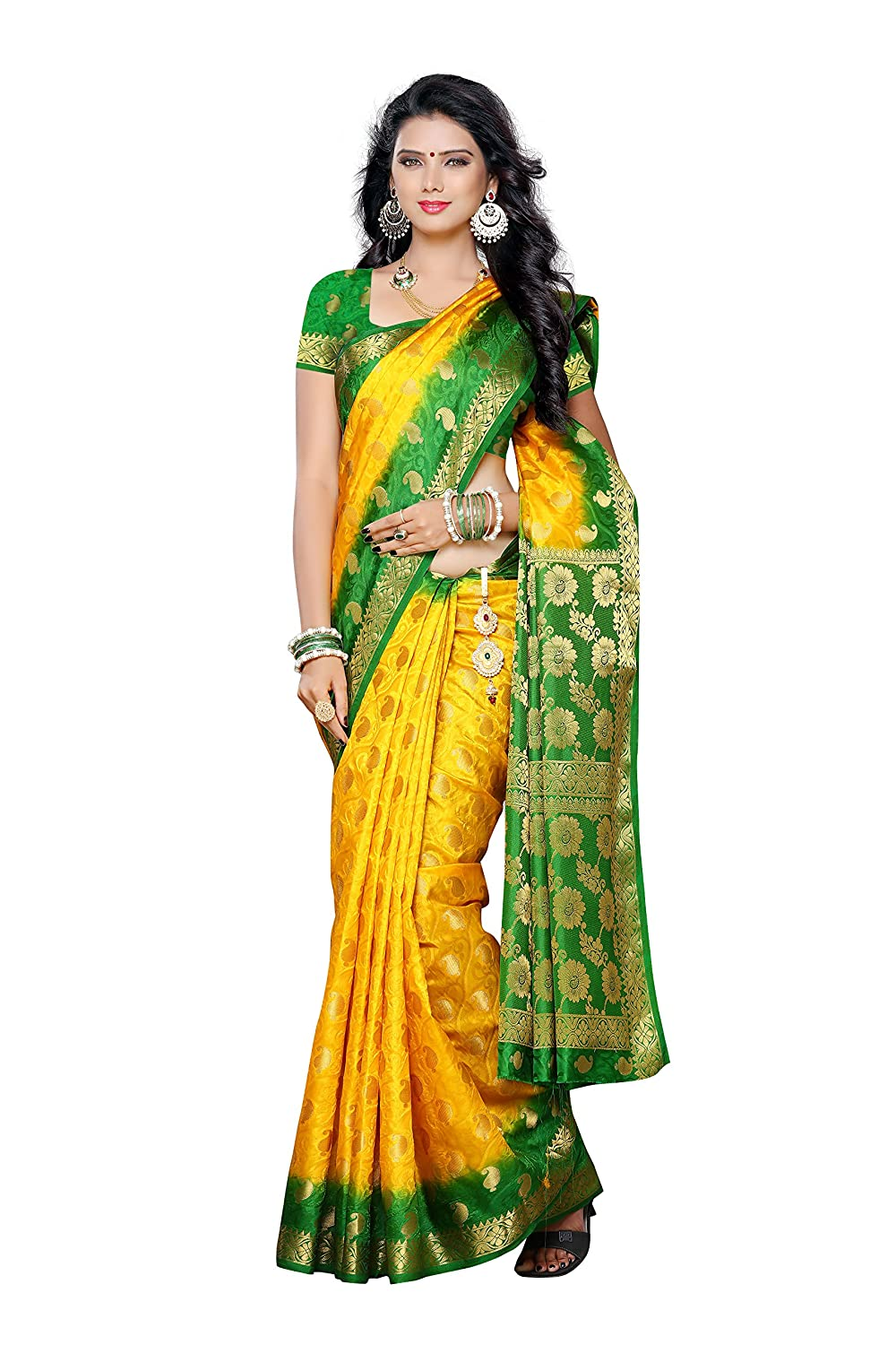 f2038265e8c Mimosa Women s Traditional Artificial Silk Saree Kanjivaram Style with Blouse  Color Gold(3305-103-2D-GLD)  Amazon.co.uk  Clothing