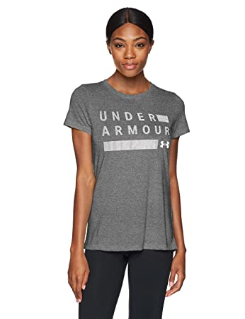 37fba44bd Under Armour Women's Threadborne Graphic Twist Short Sleeve Shirt, Black ( 001)/Metallic