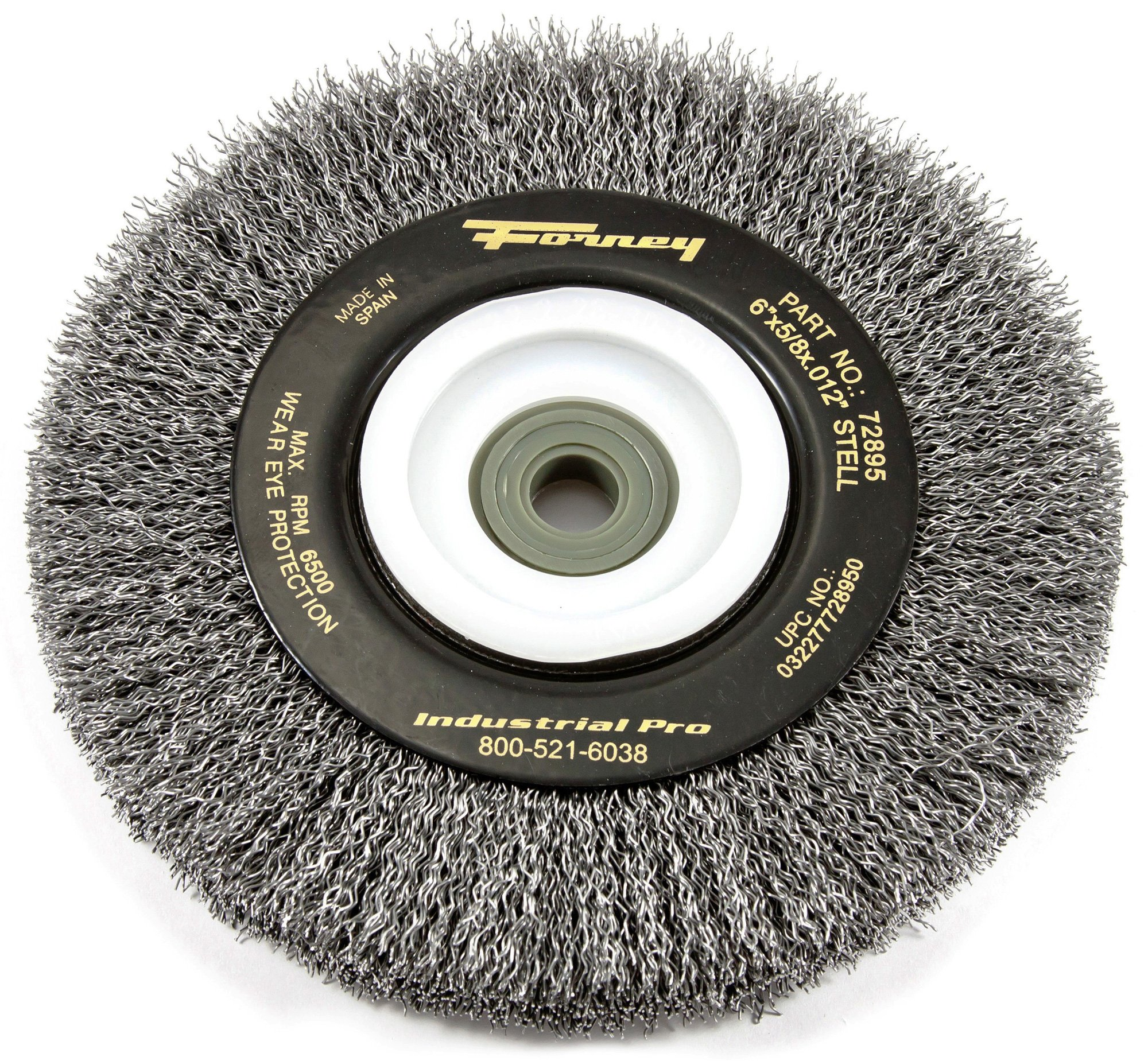 Forney 72895 Wire Bench Wheel Brush, Industrial Pro Crimped with 1/2-Inch Through 2-Inch Multi Arbor, 6-Inch-by-.012-Inch