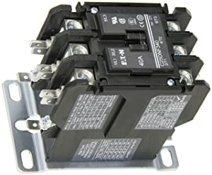 Eaton C25DNF340T Definite Purpose Contactor, 50mm, 3 Poles, Box Lugs, Quick Connect Side By Side Terminals, 40A Current Rating, 3 Max HP Single Phase at 115V, 10 Max HP Three Phase at 230V, 20 Max HP Three Phase at 480V, 24VAC Coil Voltage
