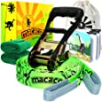 """Macaco Slackline Complete Set 52'x 2"""" (16 Metre) and Booklet, Super Strong Ratchet With Grip, Tree Protectors and Cotton Bag. Very Easy To Set Up."""