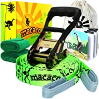 "Macaco Slackline Complete Kit - Slack Line 16m (52'x2"") + Tree Protectors + Instructions + Natural Cottom Bag for Tightrope Kit - Very Easy Setup"