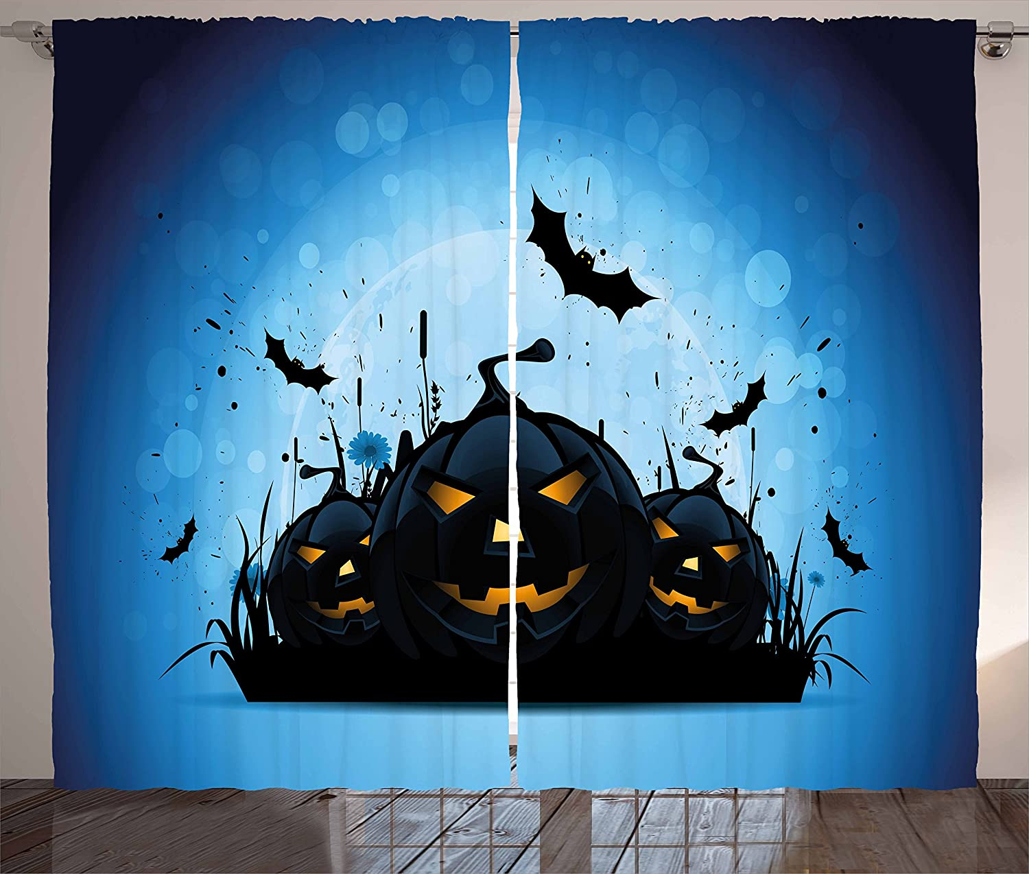 Amazon.com: Ambesonne Halloween Kitchen Curtains, Scary Pumpkins in ...