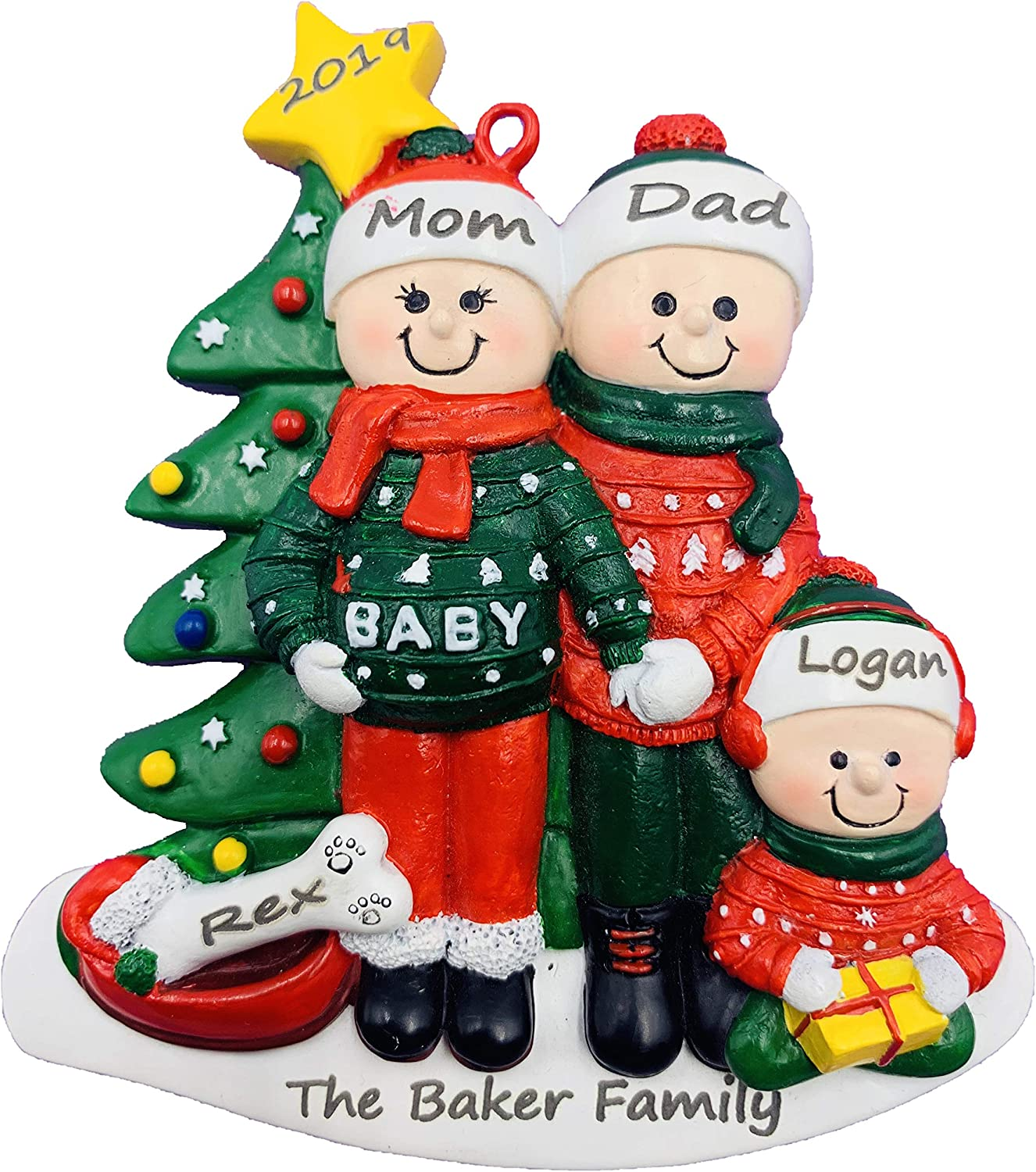 Amazon Com Personalized Pregnant We Re Expecting Family Of 3 And Dog Christmas Ornament Furniture Decor