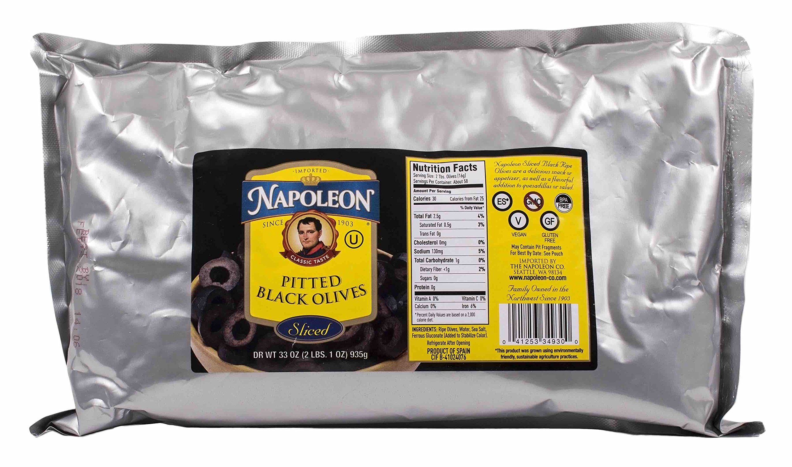 Napoleon Sliced Black Olives, 33 Ounce (Pack of 10)