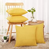 Deconovo Decorative Faux Linen Pillow Case Yellow Cushion Cover for Sofa Sets of 4 18X18 inch Goose Yellow