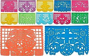 Paper Full of Wishes Day of the Dead Medium Plastic Papel Picado Banner, Dia De Los Muertos, 12 Medium Multi Color Plastic Panels, 15 Ft Long Hanging