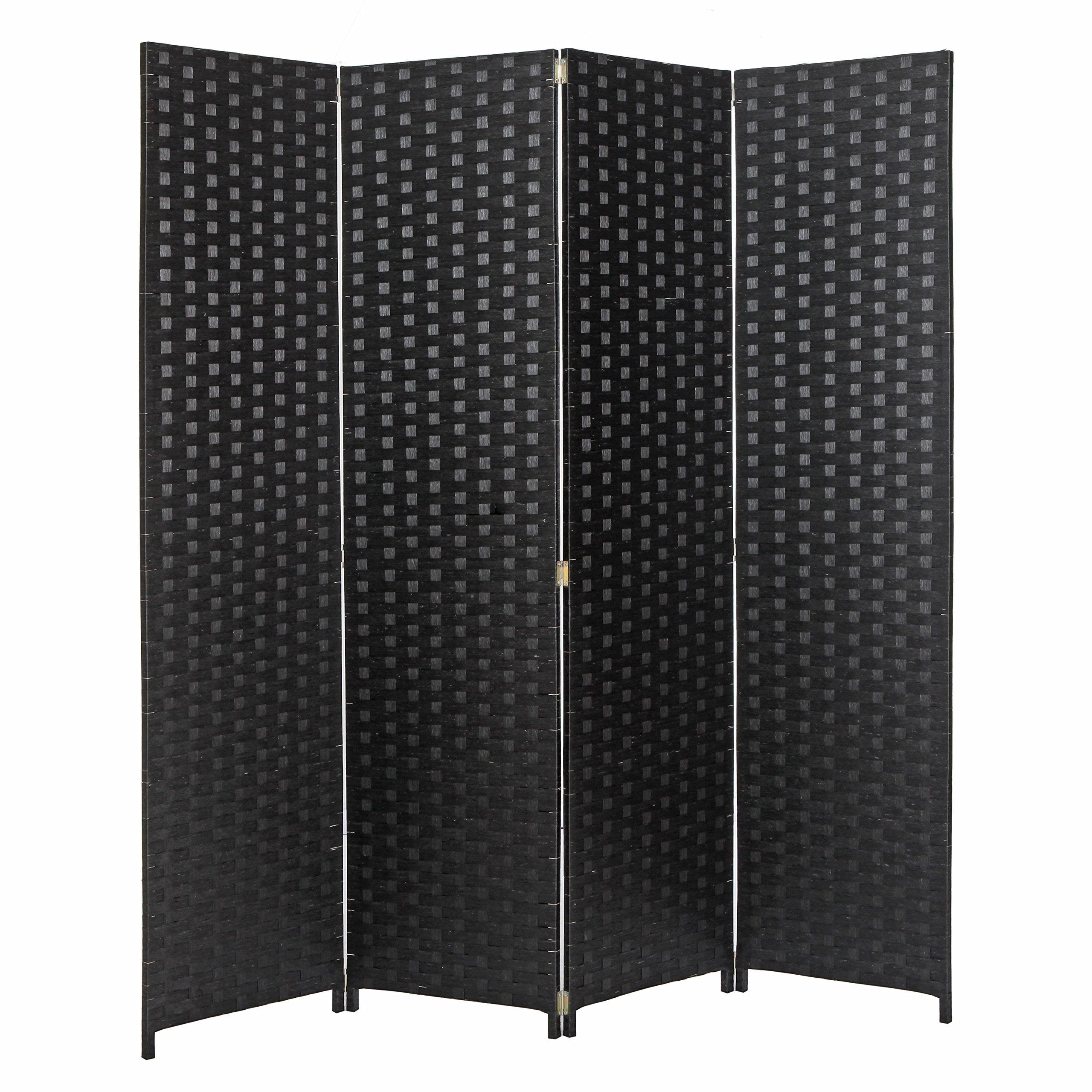MyGift 4 Panel Hinged Room Divider, Woven Paper Rattan Privacy Screens, Black by MyGift