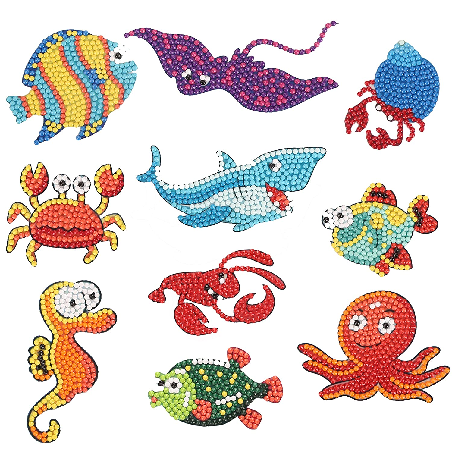 400 magic 5D DIY Diamond Painting Stickers Kits for Kids Easy Small Diamond Painting Kits Paint by Numbers to Having Fun at Party Sea World