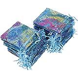Sacchetti Organza 100 pezzi Coralline modello Organza Sacchetti Regalo per Gioielleria Nozze Favore Festa 12 x 9 cm