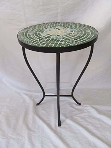 Deco 79 Furniture Oriental Mosaic Blue White Black Iron Outdoor Accent Table Planter 48