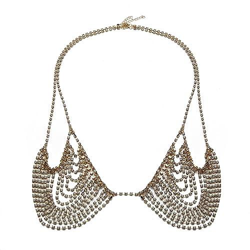 9787b28446849 Amazon.com  KOOMAGIC Nightclub Party Bra Breast Chest Chain Sexy Ladies  Rhinestone Tassel Bikini Body Chains Waist Belly Body Chains Harness Jewelry  (Gold)  ...