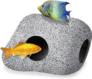 ZIUZOY Aquarium Hideaway Rocks for Aquatic Pets to Breed, Play and Rest,Safe and Non-Toxic Ceramic Fish Tank Aquarium Decorations,Simulation Stone Fish Tank Decor
