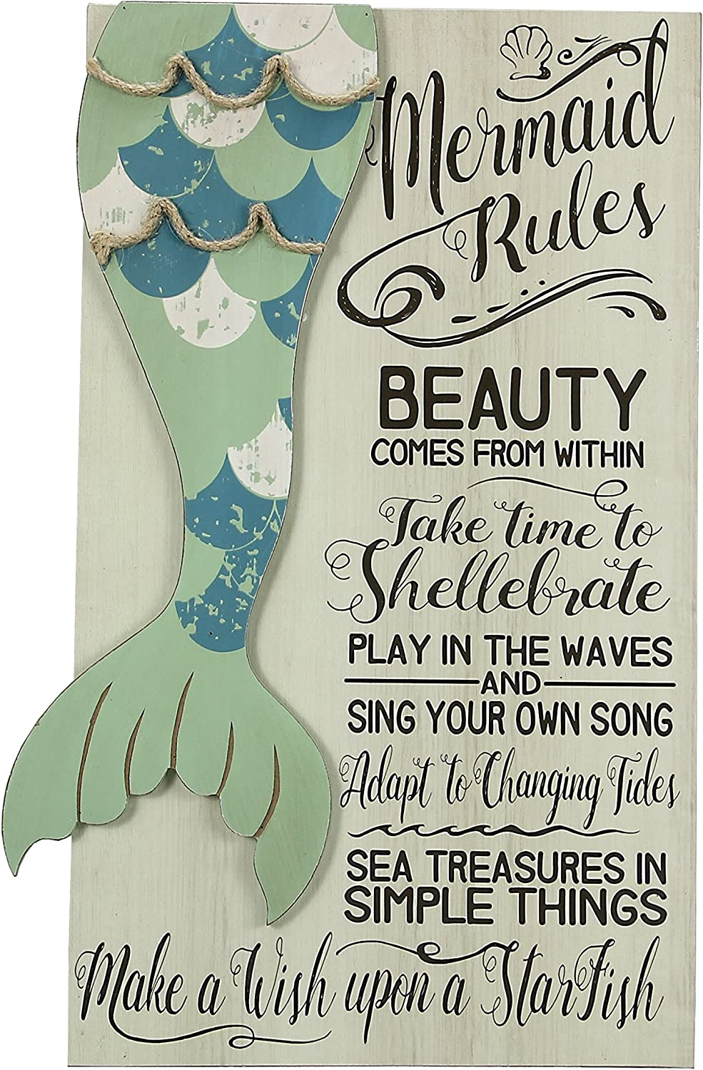 Young's 19 x 11 x 1 Mermaid Rules Wooden Wall Art Sign