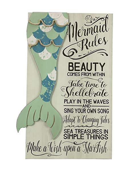 Young S 19 X 11 X 1 Mermaid Rules Wooden Wall Art Sign