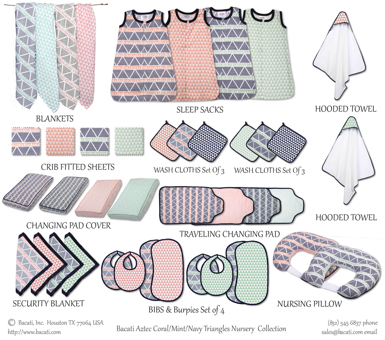 Bacati Emma Triangles 100% Cotton Breathable Muslin Sleeping Bag, Mint/Navy, Newborn