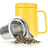 Tealyra - Peak Ceramic Yellow Tea Cup Infuser - 16-ounce - Large Tea High-Fired Ceramic Mug with Lid and Stainless Steel Infuser - Tea-For-One Perfect Set for Office and Home Uses - 480 milliliter