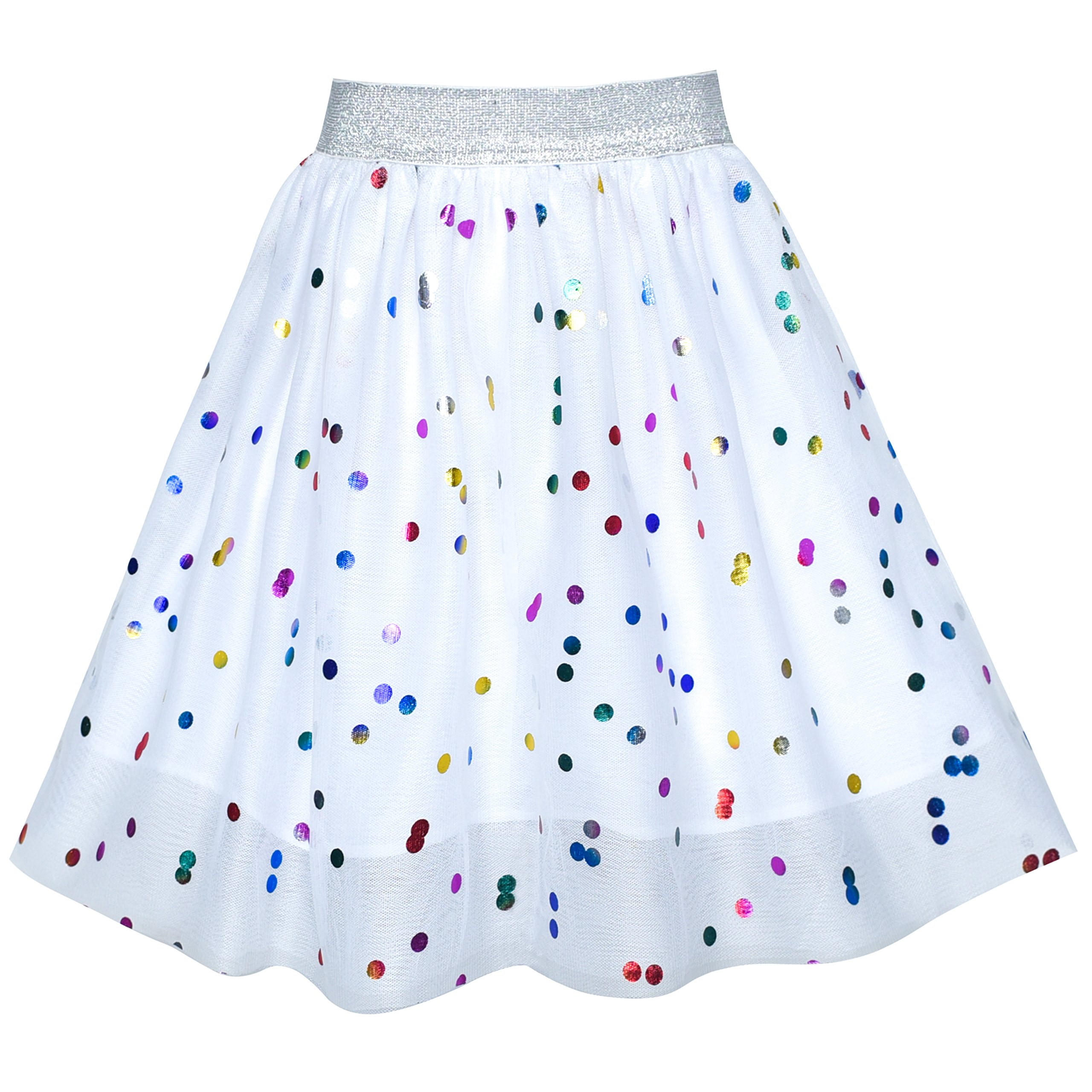 Girls Skirt Colorful Sequins Sparkling White Tutu Dancing Size 9-10