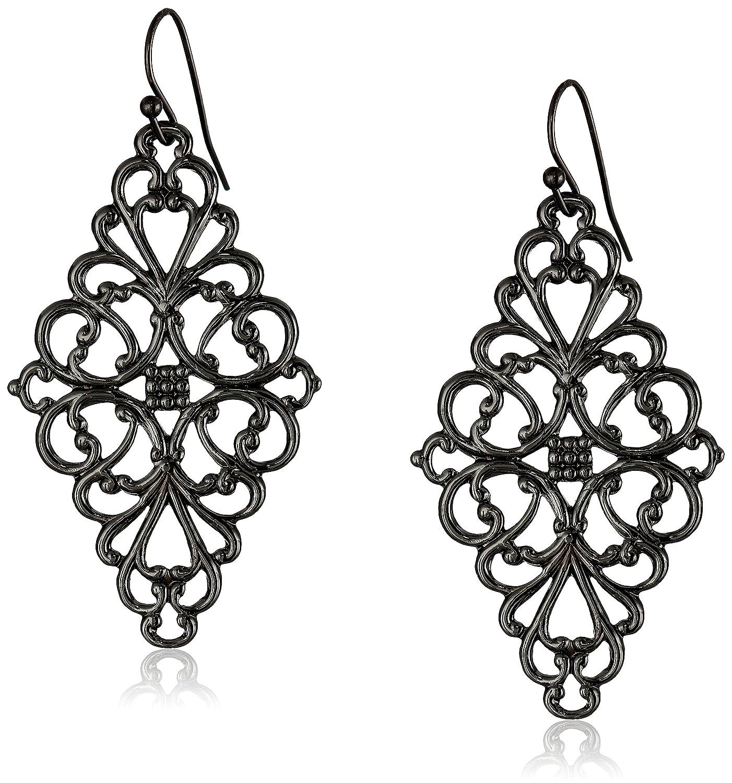 Amazon 1928 Jewelry Black Tone Filigree Diamond Drop Earrings