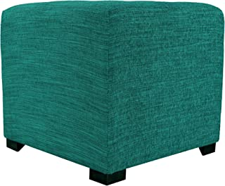 """product image for MJL Furniture Designs Upholstered Cubed/Square Lucky Series Ottoman, 17"""" x 19"""" x 19"""", Turquoise"""