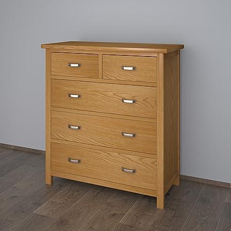 Cajonera de madera de roble con 5 cajones para almacenamiento de mesa, armario, dormitorio, sala de estar, mueble, madera, natural, Style 2: Amazon.es: Hogar