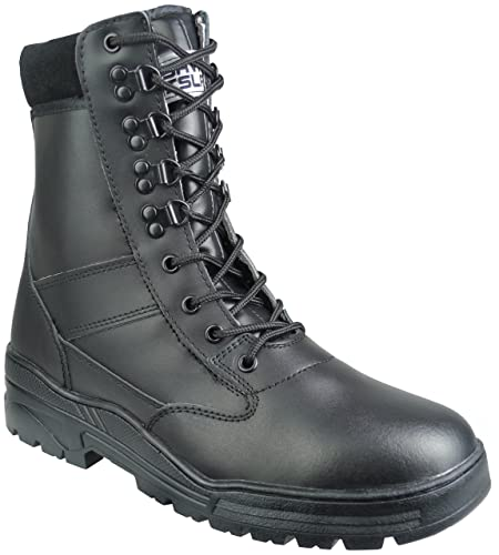 Black Full Leather Side Zip Army Combat Patrol Boots Tactical Cadet Military  Security Police (7 630ddc50310