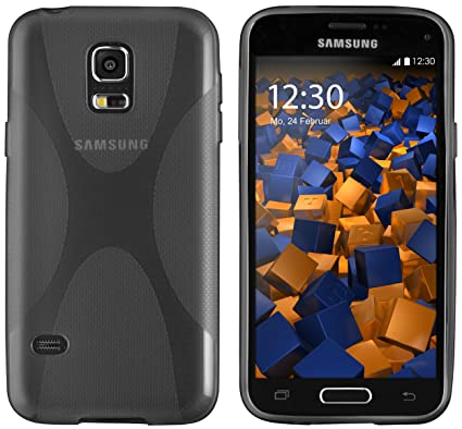 mumbi X-TPU Schutzhülle Samsung Galaxy S5 / S5 Neo Hülle transparent schwarz