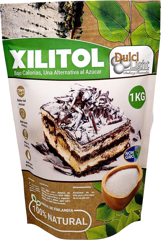 Xilitol 100% Natural Ecologico 1Kg Azucar de Abedul de Finlandia | Ideal para Reposteria y Dietas | Edulcorantes DULCILIGHT el sabor natural del azucar.